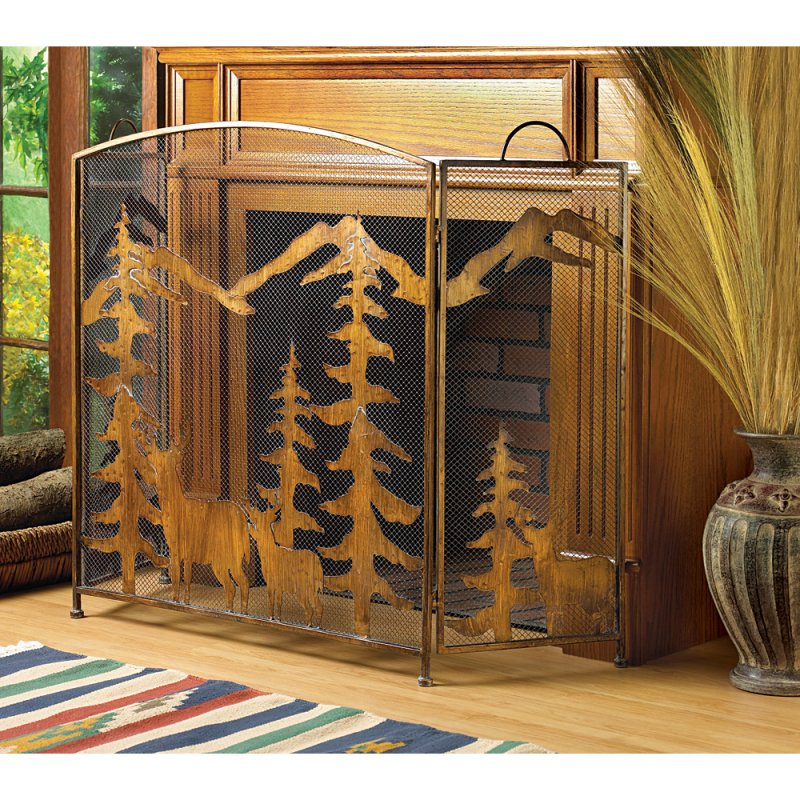 Image 1 of Wrought Iron Rustic Forest & Deer Fireplace Screen