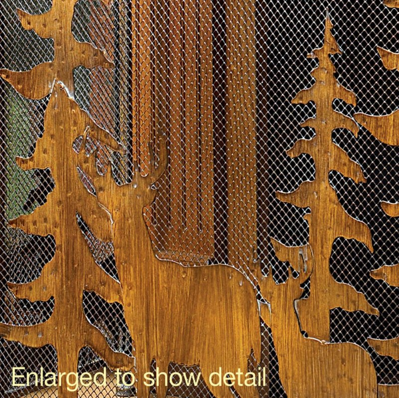 Image 2 of Wrought Iron Rustic Forest & Deer Fireplace Screen