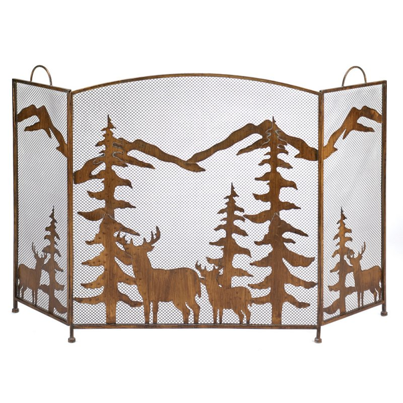 Image 0 of Wrought Iron Rustic Forest & Deer Fireplace Screen