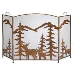 Wrought Iron Rustic Forest & Deer Fireplace Screen