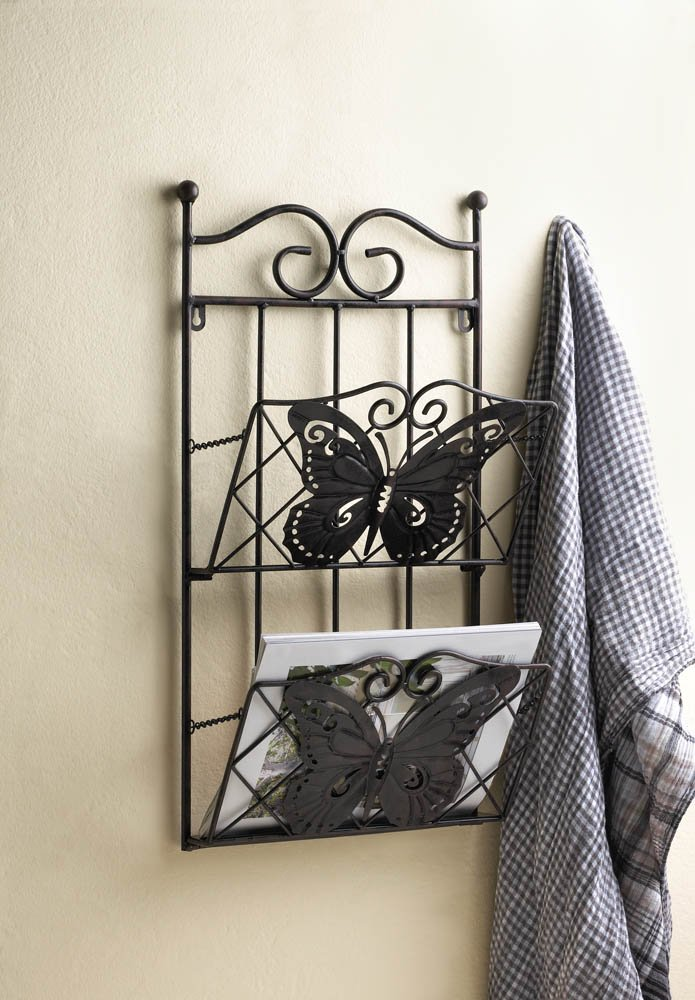 Image 0 of Brown Iron Butterfly Theme Wall Rack for Magazines, Mail or Important Papers