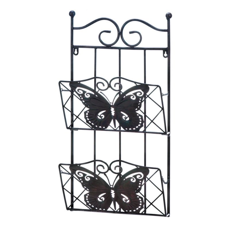 Image 1 of Brown Iron Butterfly Theme Wall Rack for Magazines, Mail or Important Papers