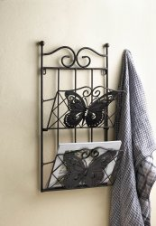 Brown Iron Butterfly Theme Wall Rack for Magazines, Mail or Important Papers