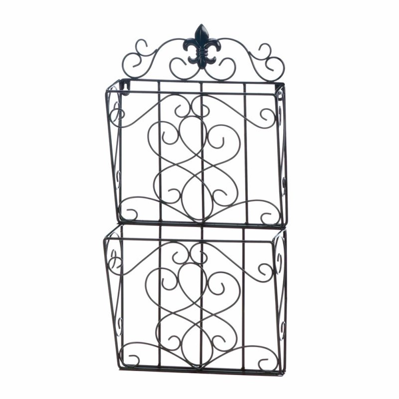 Image 1 of Brown Iron Fleur de Lis Theme Wall Rack for Magazines, Mail or Important Papers