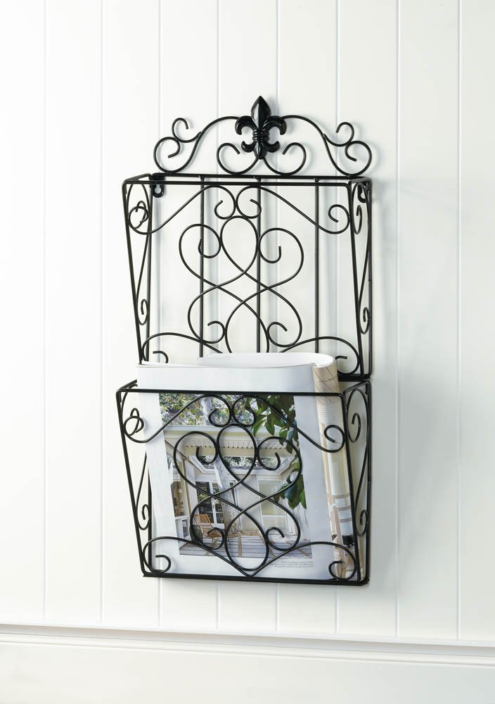 Image 0 of Brown Iron Fleur de Lis Theme Wall Rack for Magazines, Mail or Important Papers