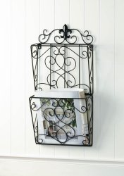 Brown Iron Fleur de Lis Theme Wall Rack for Magazines, Mail or Important Papers
