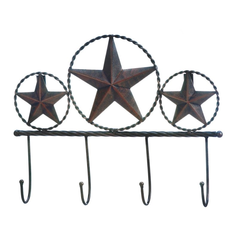 Image 1 of Western Brown Iron Texas Star Wall Hooks Plaque for Coats, Hats, Umbrellas