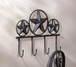 Western Brown Iron Texas Star Wall Hooks Plaque for Coats, Hats, Umbrellas