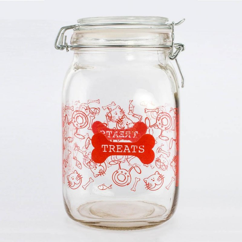Image 0 of 52 oz. Clear Pet Treat Jar Canister Red Lettering, Decorated Cats, Dogs, Bones