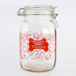 52 oz. Clear Pet Treat Jar Canister Red Lettering, Decorated Cats, Dogs, Bones