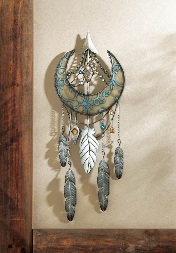 Image 0 of Arrowhead & Crescent Moon Decorated w/ Jewels and Feathers Wall Dream Catcher