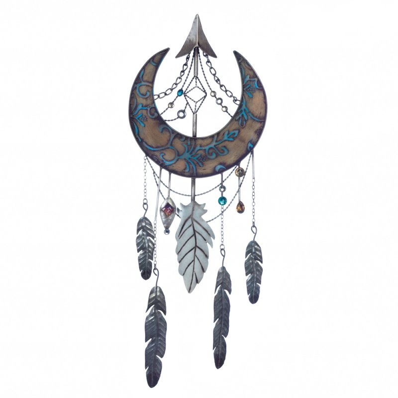 Image 1 of Arrowhead & Crescent Moon Decorated w/ Jewels and Feathers Wall Dream Catcher