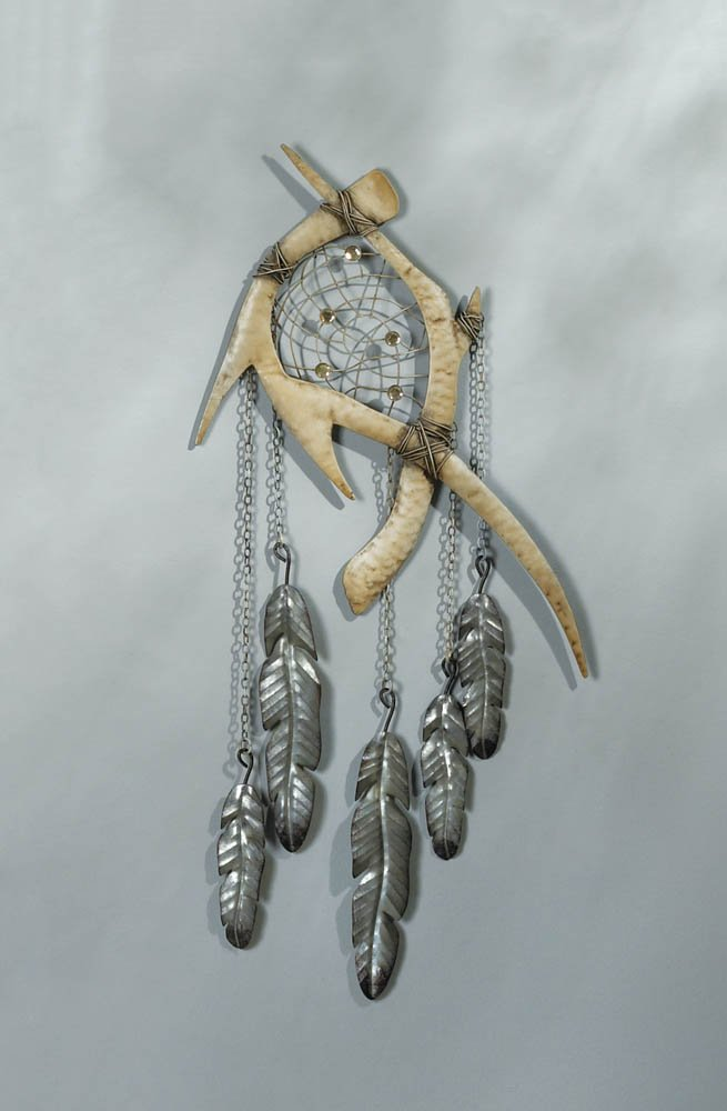 Image 0 of Rustic Faux Antlers w/ Feathers Below Wall Dream Catcher