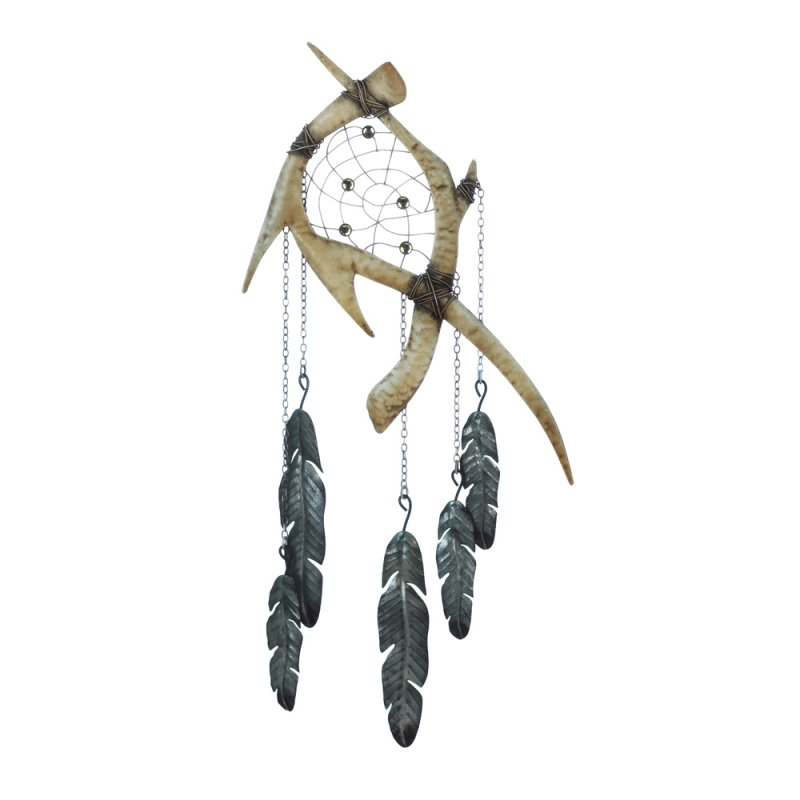 Image 1 of Rustic Faux Antlers w/ Feathers Below Wall Dream Catcher