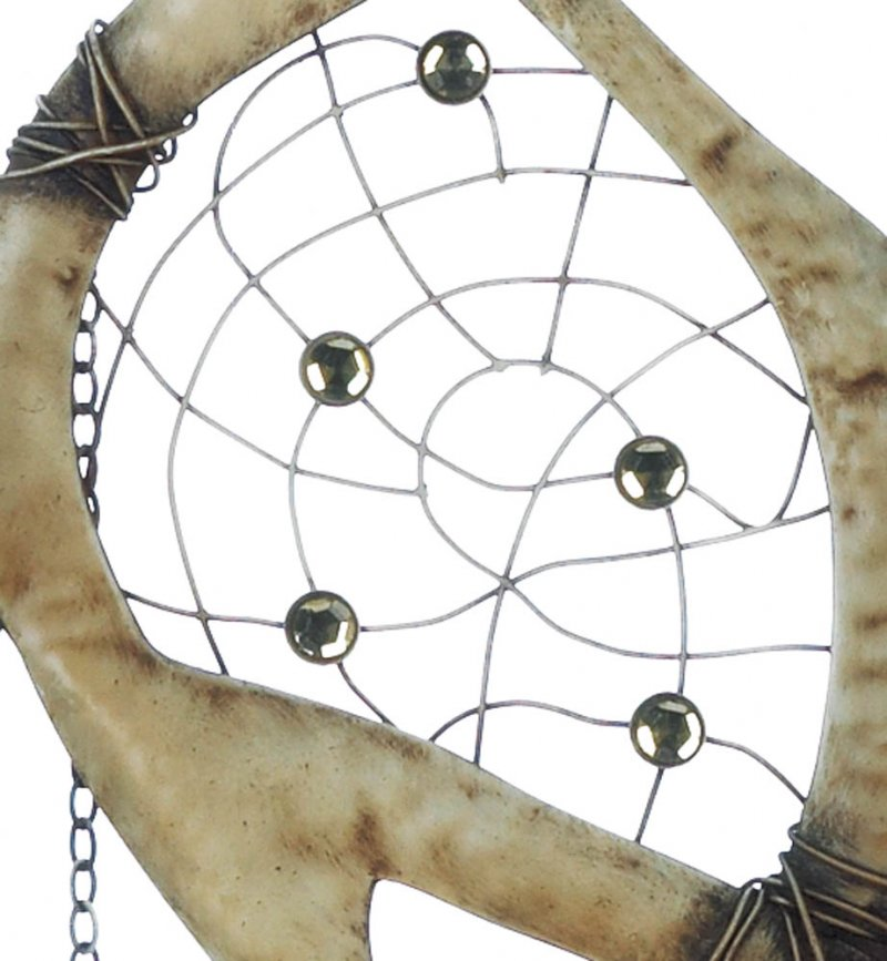 Image 2 of Rustic Faux Antlers w/ Feathers Below Wall Dream Catcher