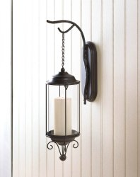 Antiqued Woodland Romance Hurricane Candle Lantern Wall Sconce w/ Flourishes