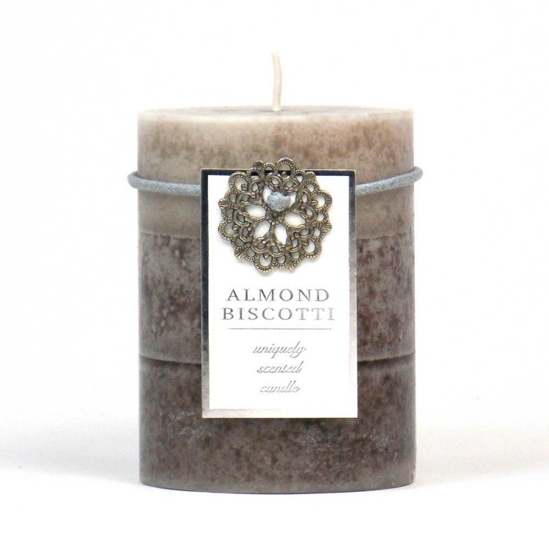 Image 0 of Almond Biscotti Scented 3 x 4 Pillar Candle 60 Hours Burn Time