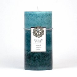 Ocean Mist Scented 3 x 6 Pillar Candle 90 Hours Burn Time