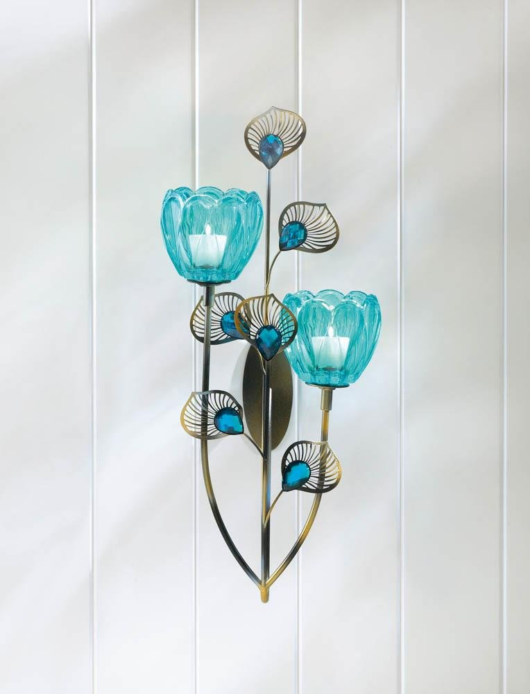 Image 2 of Turquoise Duo Flower Candle Cups on Golden Metal Peacock Plumes Wall Sconce