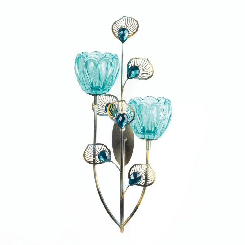 Image 0 of Turquoise Duo Flower Candle Cups on Golden Metal Peacock Plumes Wall Sconce