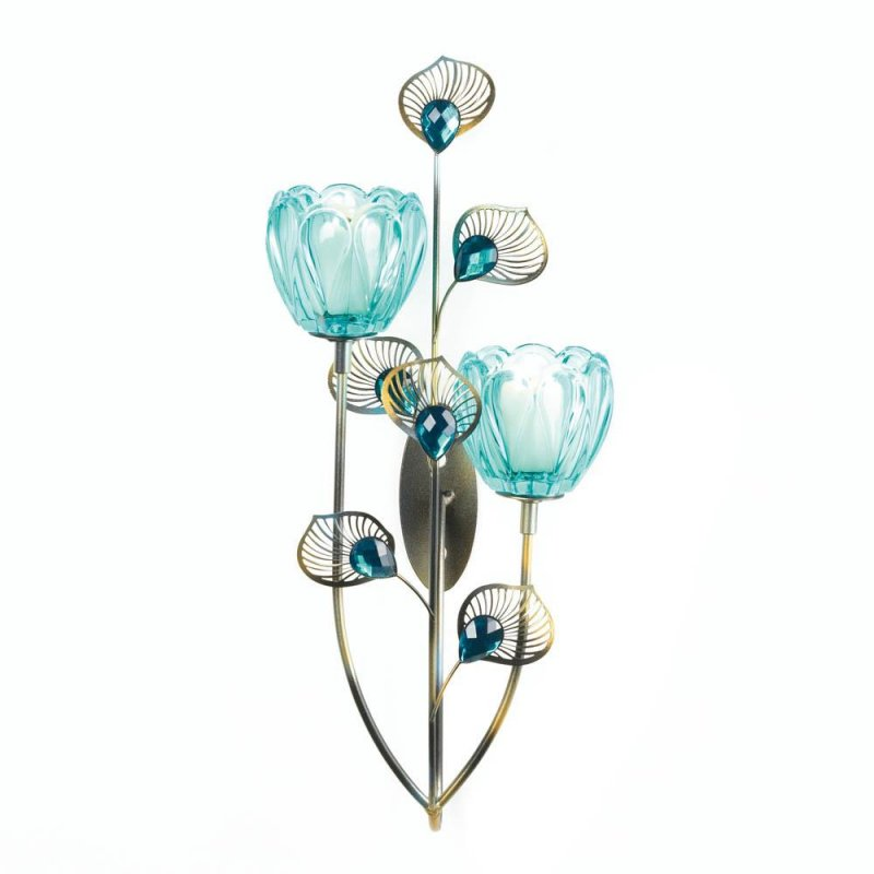Image 1 of Turquoise Duo Flower Candle Cups on Golden Metal Peacock Plumes Wall Sconce