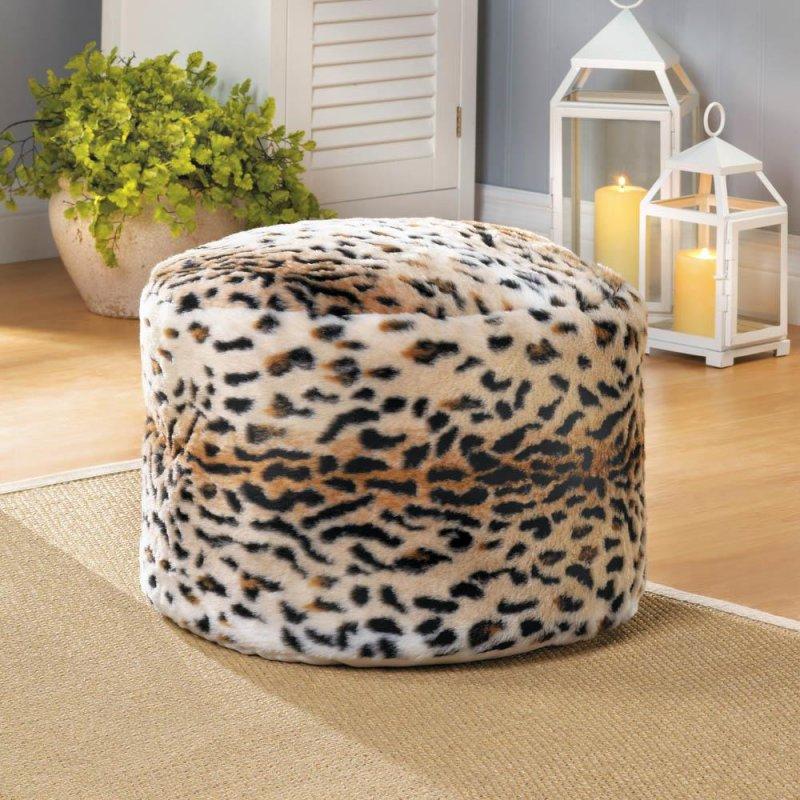 Image 0 of Pouf, Ottoman, Fuzzy Snow Leopard Print Footstool