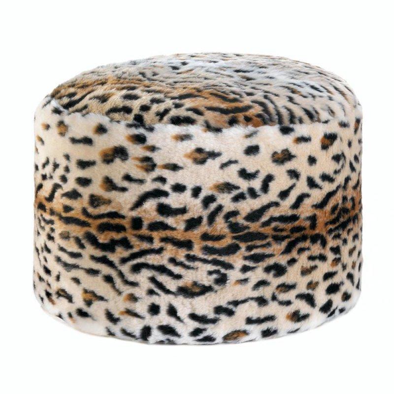 Image 1 of Pouf, Ottoman, Fuzzy Snow Leopard Print Footstool