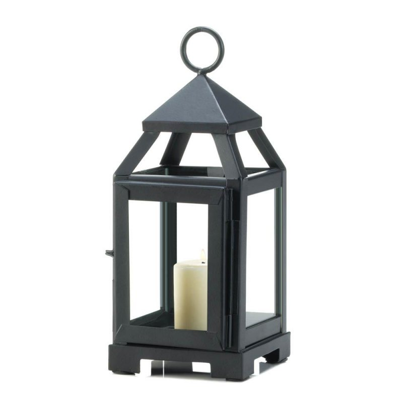 Image 0 of Black Mini Contemporary Candle Lantern Use Indoor or Outdoors