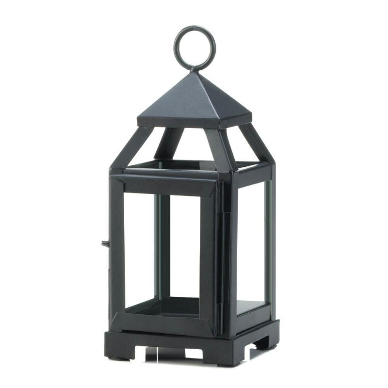 Image 1 of Black Mini Contemporary Candle Lantern Use Indoor or Outdoors