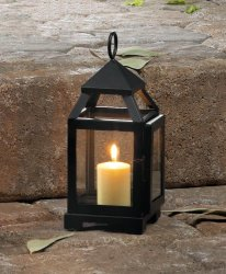 Black Mini Contemporary Candle Lantern Use Indoor or Outdoors