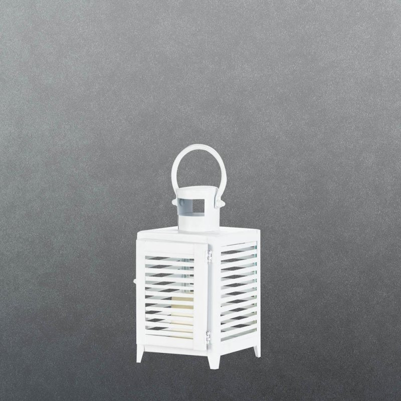 Image 0 of Small White Horizontal Slats Candle Lantern Use Indoor or Outdoors