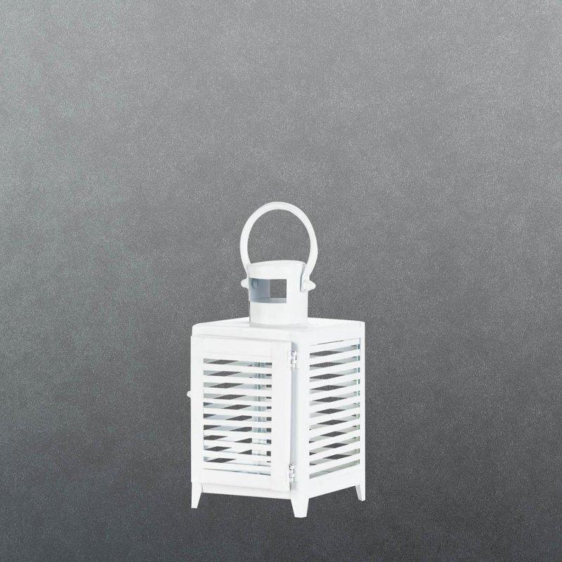 Image 1 of Small White Horizontal Slats Candle Lantern Use Indoor or Outdoors
