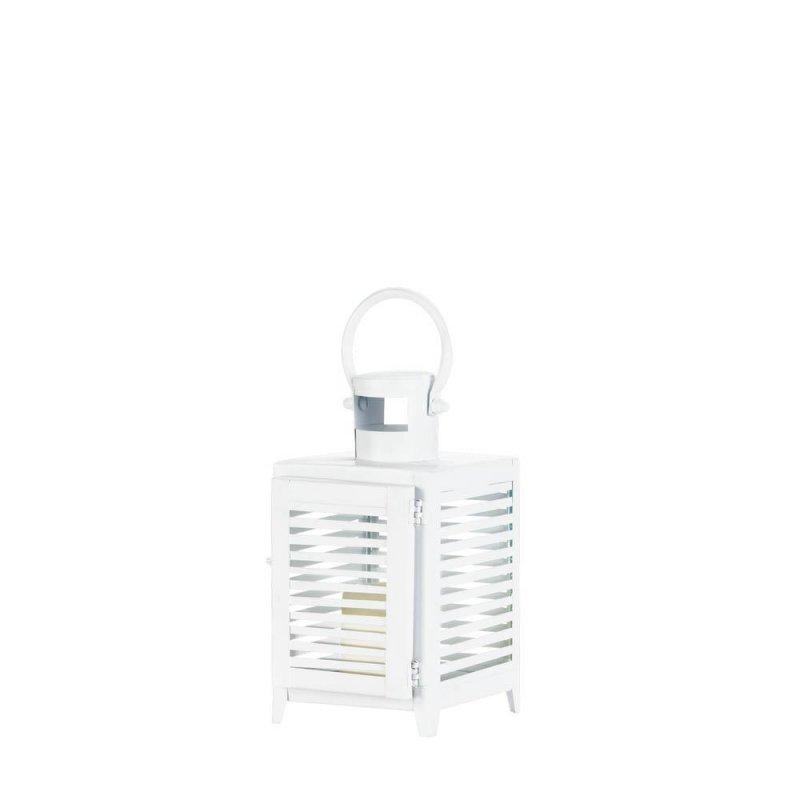 Image 2 of Small White Horizontal Slats Candle Lantern Use Indoor or Outdoors