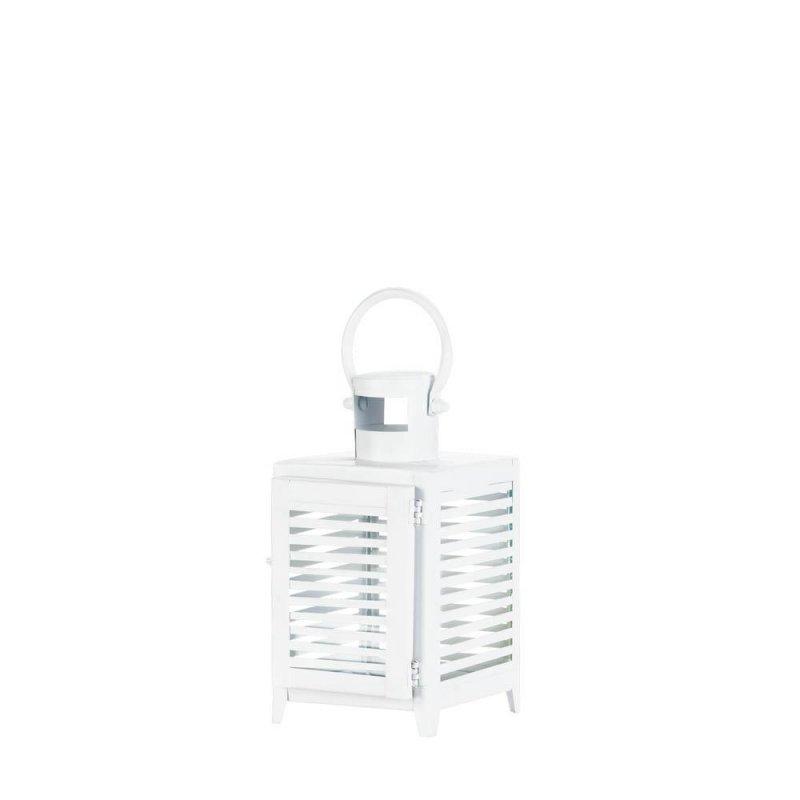 Image 3 of Small White Horizontal Slats Candle Lantern Use Indoor or Outdoors