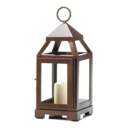 Copper Color Mini Contemporary Candle Lantern Use Indoor or Outdoors