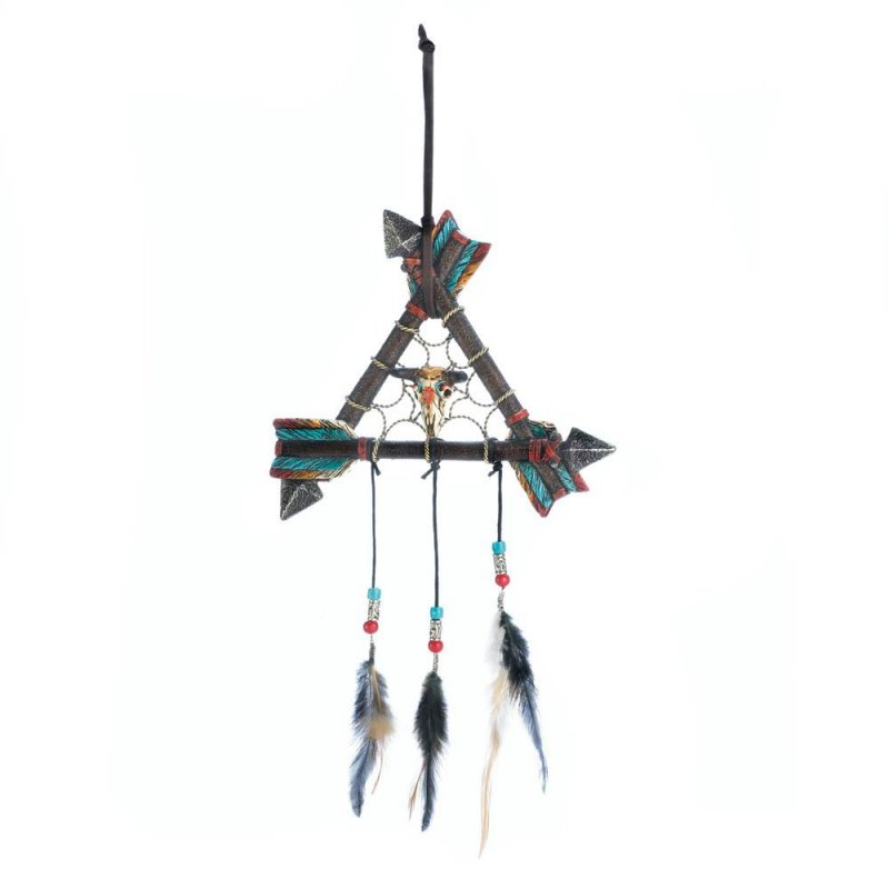 Image 0 of Three Arrows Form a Triangle w/ Bison Skull in Middle  & Feathers Dream Catcher