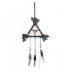 Three Arrows Form a Triangle w/ Bison Skull in Middle  & Feathers Dream Catcher