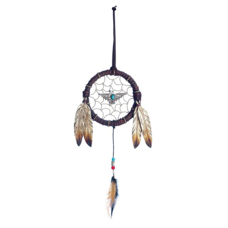Image 0 of Turquoise Eagle in Middle  & Brushed Metal Accents w/ Feathers Dream Catcher