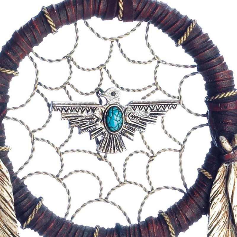 Image 1 of Turquoise Eagle in Middle  & Brushed Metal Accents w/ Feathers Dream Catcher