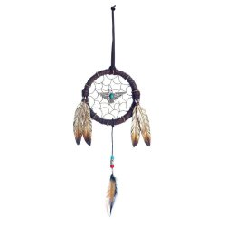 Turquoise Eagle in Middle  & Brushed Metal Accents w/ Feathers Dream Catcher