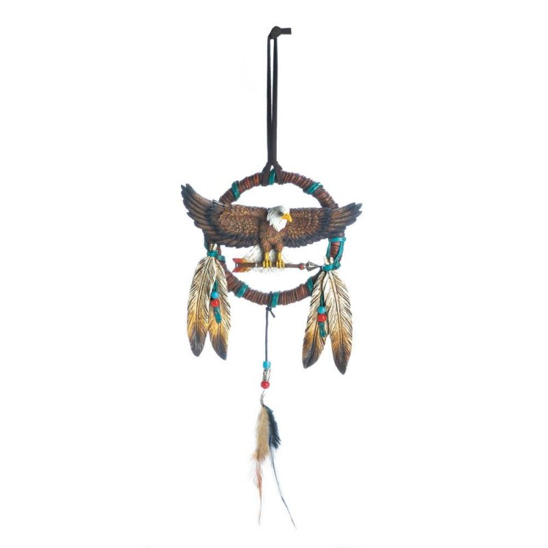 Image 0 of Bald Eagle Perched on Arrow w/ Brushed Metal Accents w/ Feathers Dream Catcher
