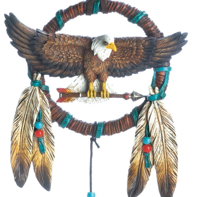 Image 1 of Bald Eagle Perched on Arrow w/ Brushed Metal Accents w/ Feathers Dream Catcher
