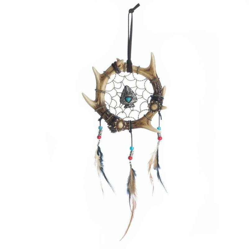 Image 0 of Faux Antler Wrapped in a Circle Arrowhead in Center w/ Feathers Dream Catcher