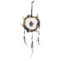 Faux Antler Wrapped in a Circle Arrowhead in Center w/ Feathers Dream Catcher
