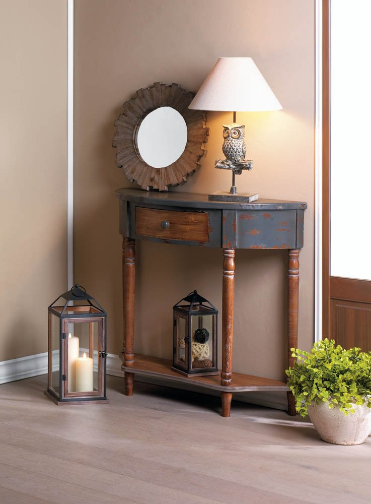 Image 0 of Rustic Half Moon Wooden Hall or Entryway Table w/ Drawer & Bottom Shelf