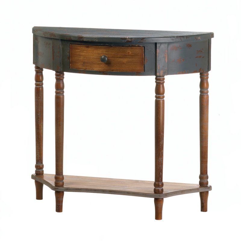 Image 1 of Rustic Half Moon Wooden Hall or Entryway Table w/ Drawer & Bottom Shelf