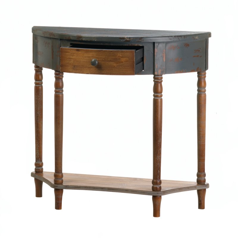 Image 2 of Rustic Half Moon Wooden Hall or Entryway Table w/ Drawer & Bottom Shelf
