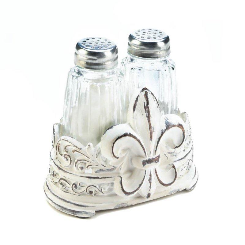 Image 0 of Salt & Pepper Shakers in Distressed White Fleur de Lis Holder