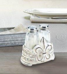 Salt & Pepper Shakers in Distressed White Fleur de Lis Holder