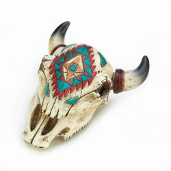 Faux Aztec Ox Skull Trinket Keepsake Box w/ Multi-Color Design Western Decor